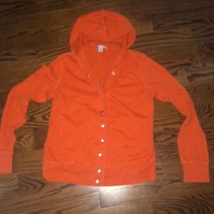 Cotton snap front hoodie